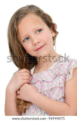 Close up Portrait of cute little blond girl. Isolated on white background.