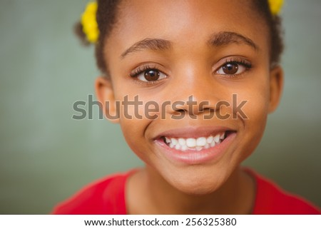 Close up portrait of cute little girl - stock photo