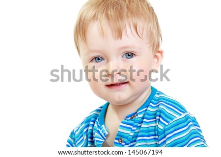 Close up portrait of cute little one-year boy on white background