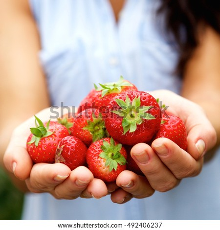 Close up portrait of female hands holding ripe strawberries