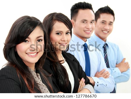 close up portrait of four asian business team isolated on white background