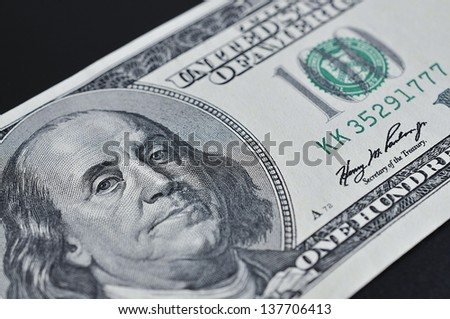 Close-up portrait of Franklin with hundred dollar bills, US Dollar