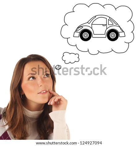 Close-up portrait of girl dreaming about car isolated on white background - stock photo