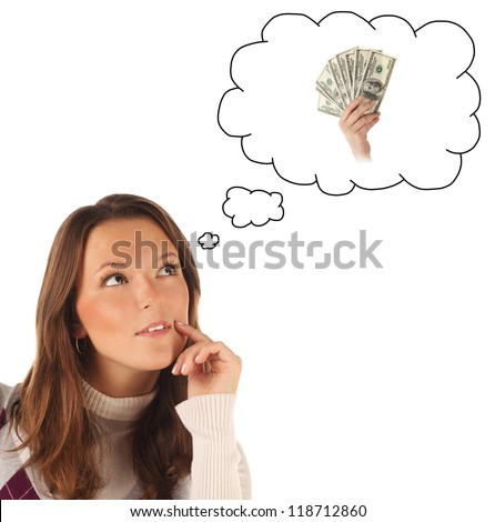 Close-up portrait of girl dreaming about cash money isolated on white background
