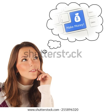 Close-up portrait of girl dreaming about making money isolated on white background - stock photo