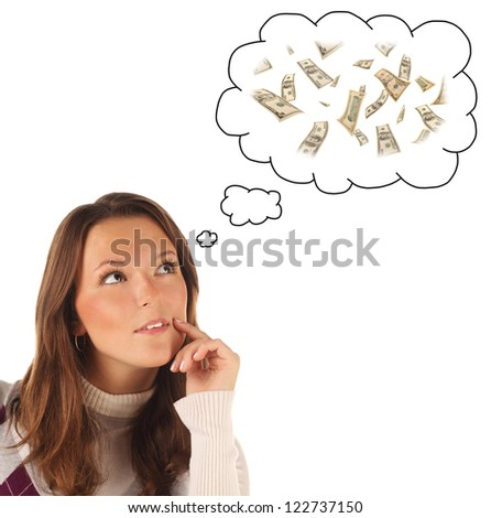 Close-up portrait of girl dreaming about money on white background with dollar's banknotes
