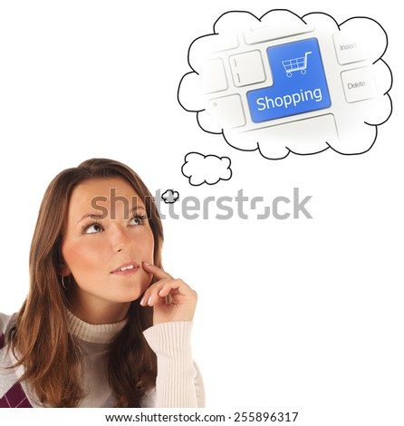 Close-up portrait of girl dreaming about on-line shopping isolated on white background
