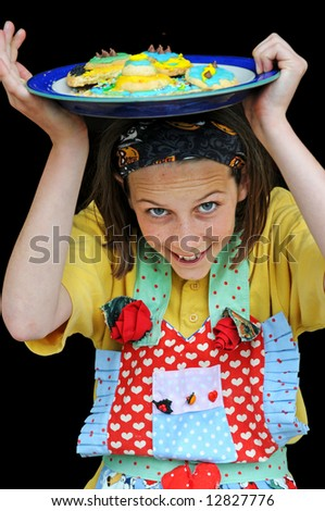 close-up portrait of girl in apron - stock photo