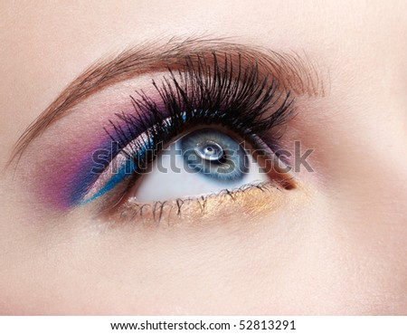 close-up portrait of girl's eyezone make up - stock photo