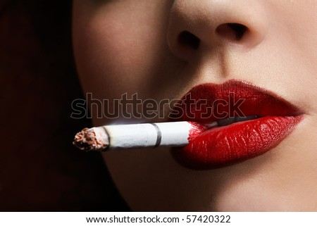 close up portrait of girl smoking cigarette