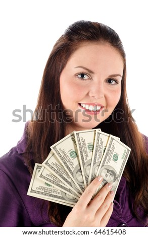 Close up portrait of girl with dollars (isolated) - stock photo