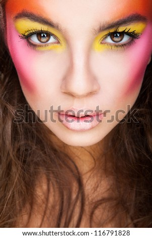 close-up portrait of girl with unusual make-up - stock photo