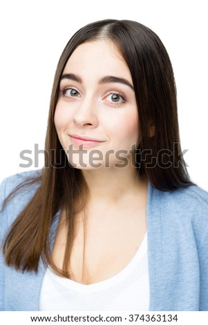 Close up portrait of Happy emotional young woman with smile - stock photo