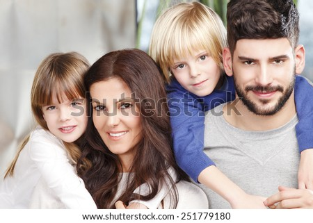 Close-up portrait of happy family have fun. - stock photo