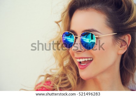 big glasses frames trend tizx  Close Up Portrait of Happy Fashion Woman in Sunglasses Smiling Trendy Girl  in Summer