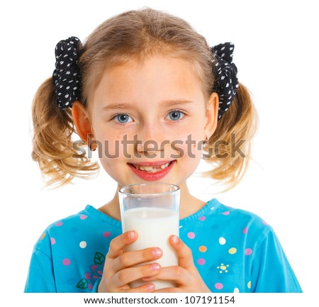 Close up portrait of happy girl with milk mustache, isolated on white. - stock photo