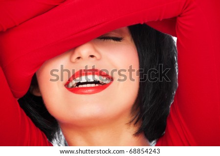 close-up portrait of happy laughing woman - stock photo