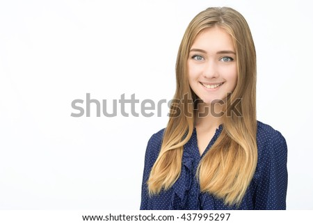 Close-up portrait of happy woman on isolated background