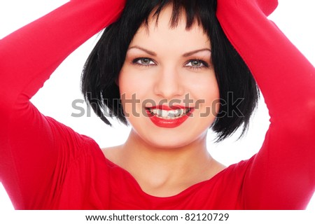 close-up portrait of happy woman over white background - stock photo
