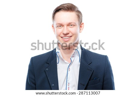 Close up portrait of happy young handsome man. Isolated on white.