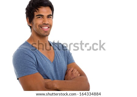 close up portrait of indian man isolated on white - stock photo