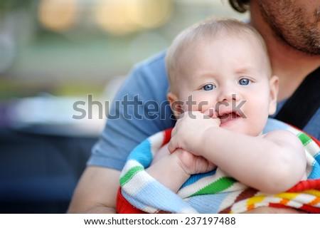 Close up portrait of little baby boy  - stock photo