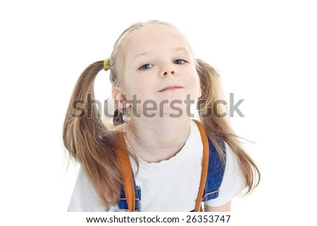 Close-up portrait of little blonde smiling girl with pony tails