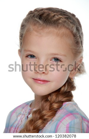 Close up portrait of lovely young girl with long healthy blond hair