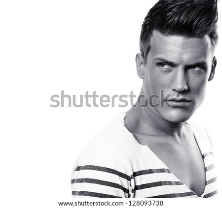 Close up portrait of male fashion model - black and white - stock photo