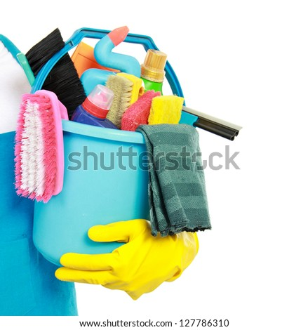 close up portrait of mans hand with cleaning equipment isolated over white background - stock photo
