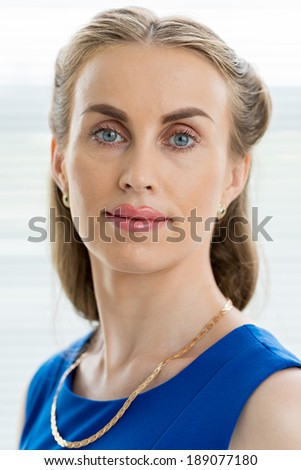 Close up portrait of middle-aged beautiful woman - stock photo