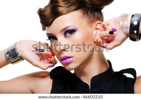 close-up portrait of pretty  beautiful young woman with seductive look - stock photo
