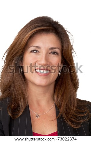 Close up portrait of pretty businesswoman wearing black jacket. Isolated on white background. - stock photo