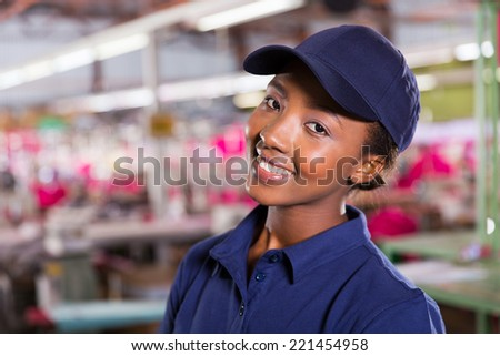 close up portrait of pretty female african textile worker