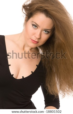 close-up portrait of pretty woman on a white background