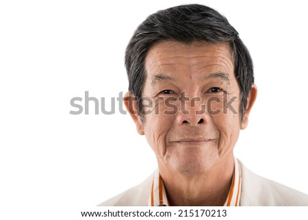 Close-up portrait of senior Asian man