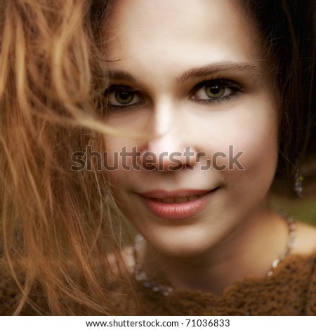 Close up portrait of sensual cute young woman - stock photo