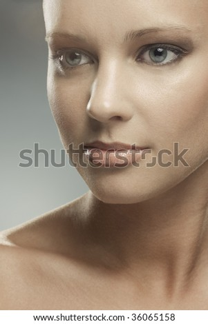 Close-up portrait of serious-looking woman