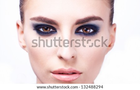 Close-up portrait of sexy caucasian young model - stock photo