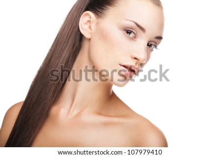 Close-up portrait of sexy caucasian young woman isolated