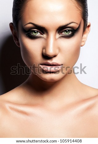 close up portrait of sexy passion brunette woman - stock photo
