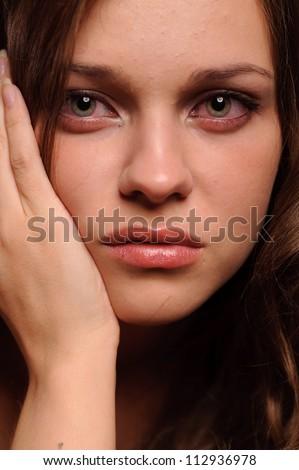 close up portrait of sexy sad woman - stock photo