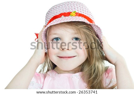 Close-up portrait of smiling grey-eyed blonde girl in hat - stock photo