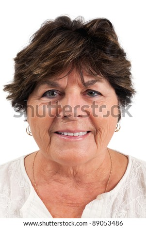 Close-up portrait of smiling senior woman over white background. - stock photo