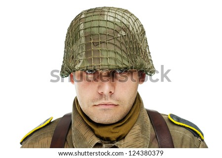 Close up portrait of soldier isolated on white background