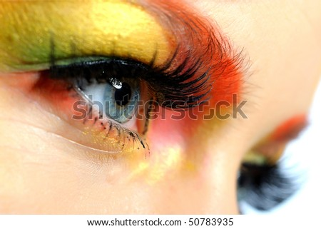 Close-up portrait of summer fashion creative eye make-up in yellow and green tones - stock photo