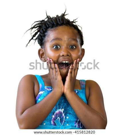 Close up portrait of surprised african kid with hand on face. Little girl with open mouth isolated on white background.