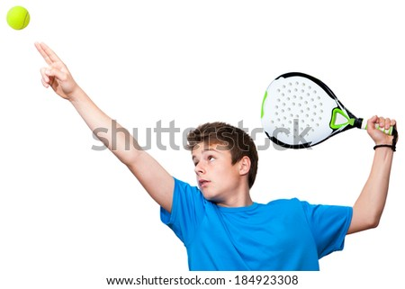 Close up portrait of teen paddle player.Isolated against white background. - stock photo
