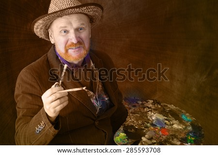 close-up portrait of the adult artist with red beard and mustache in the style of Vincent van Gogh studio on dark background instagram filter  - stock photo
