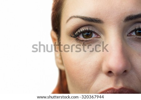 Close-up portrait of woman face against white background - stock photo